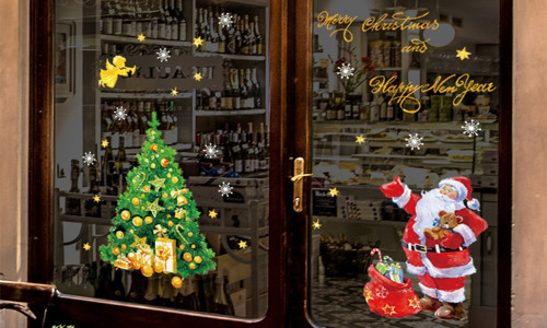 Large PVC Removable Self adhesive window sticker Christmas Decoration
