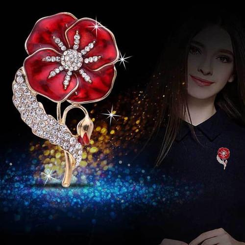 Remembrance Day Sparkle Poppy Brooch