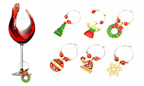 Christmas Wine Glass Decoration Charm Pack of 6