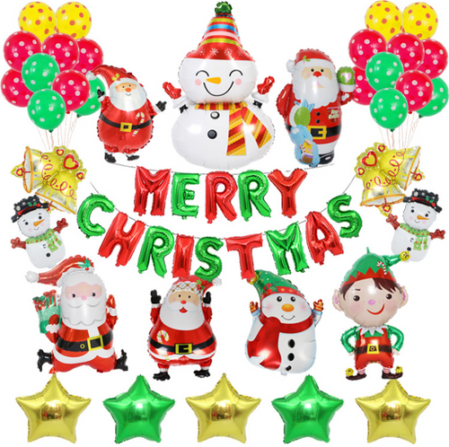 30pcs Christmas balloon set decoration package