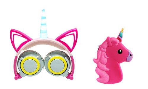 Unicorn Light Up Headphone Gift Bundle