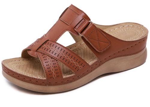 Soft Leather platform Comfy Buckle Sandals