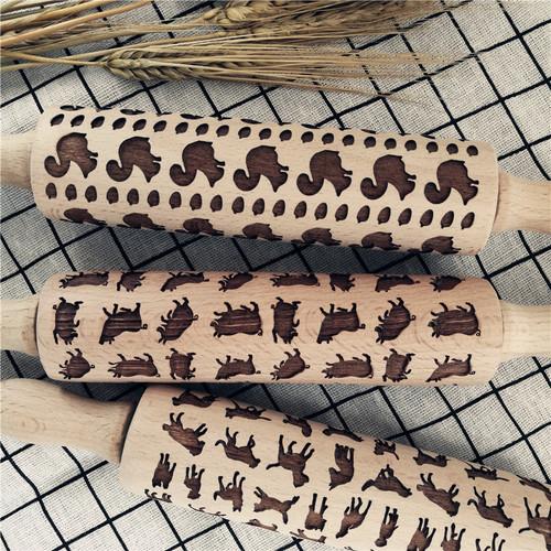 Cookie pattern sugar rolling pin