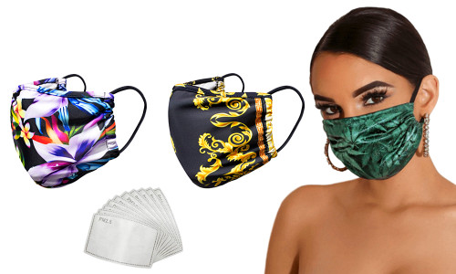 Fashion Mask with Filter Pack of 3