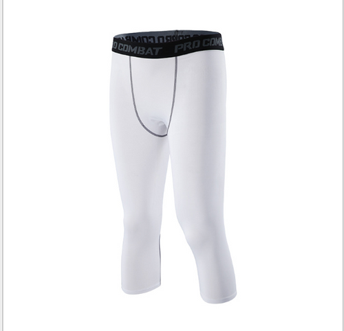 Four seasons new outdoor fitness running tight cropped pants male basketball football quick-drying compression tight leggings men