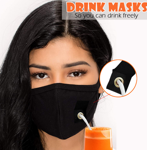 Reusable Drink Easy  Mask with Straw hole