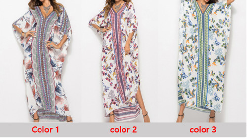 Spring and summer dresses European and American fashion bat sleeve robe women-LA