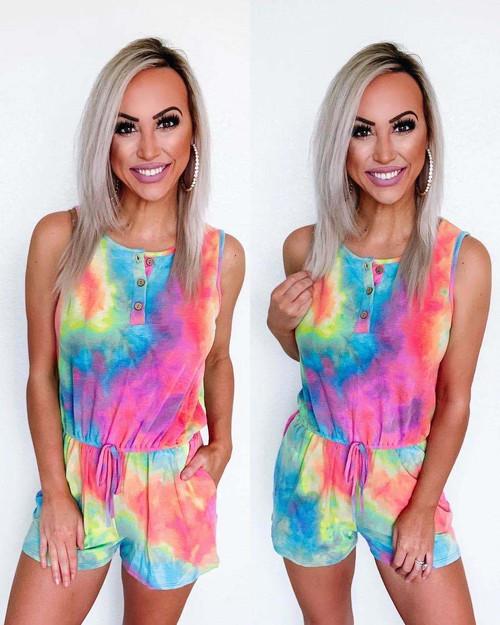 Rainbow Tie Dye Rainbow Romper