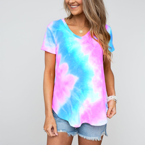 Tie Dye V-neck Rainbow Top