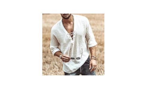 Fashion drawstring solid color T-shirt cotton and linen men-LA