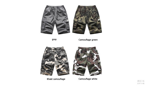 Five-point pants cotton loose casual camouflage multi-bag tooling shorts-LA