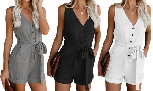 Linen Tank Romper with belt