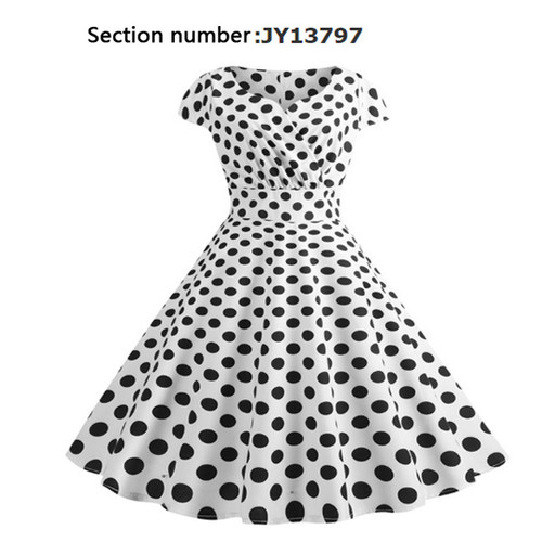 Short sleeve polka dot V-neck wrap chest retro print dress-LA