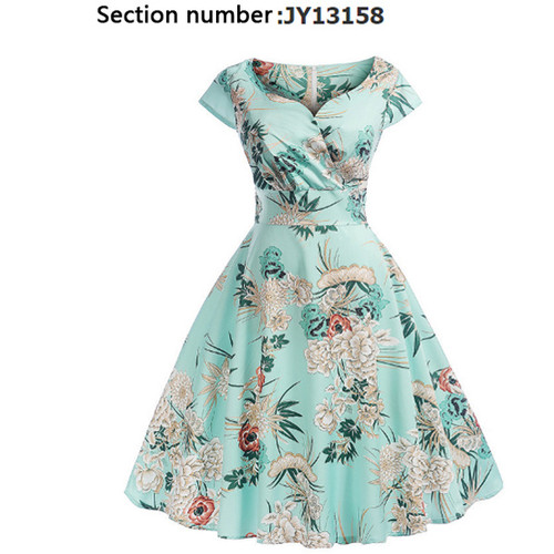 Short-sleeved vintage printed V-neck long-sleeved big swing dress-LA