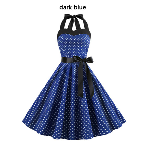 Polka dot tube dress retro big swing skirt-LA
