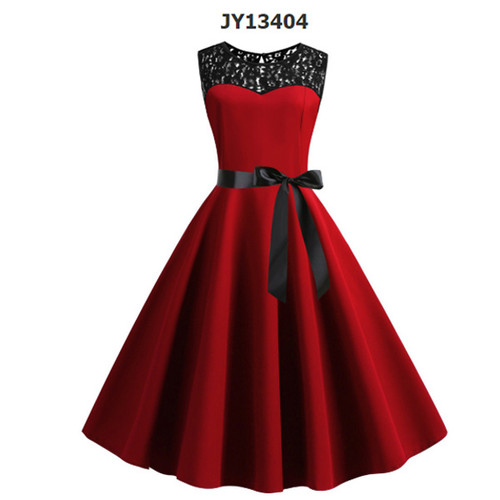 New retro sleeveless lace stitching solid color dress