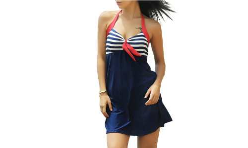 New One-piece Skirt Boxer Swimsuit
