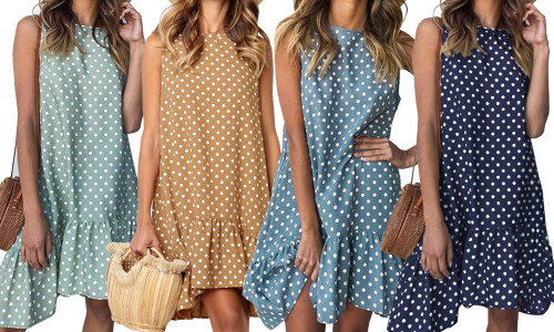Polka Dot Print Ruffle Casual Dress