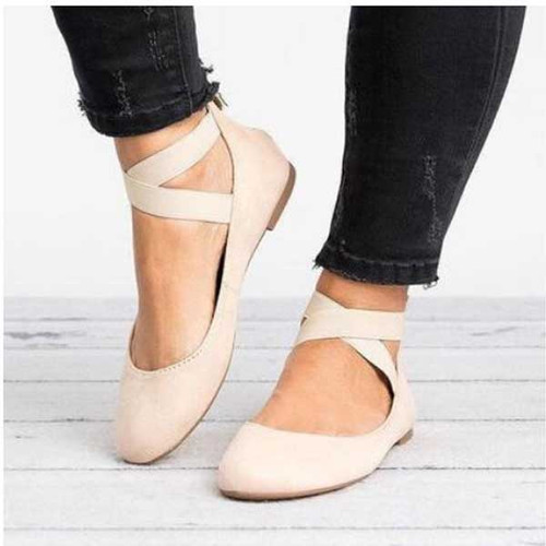 Shallow mouth elastic strap round toe flat shoes