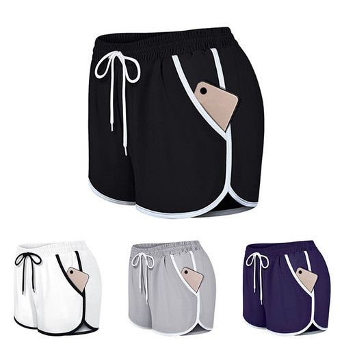Womens Casual Shorts Pocket Sports Fitness Running YogaPants-LA