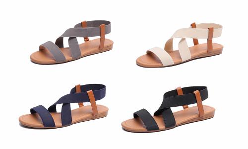 Elastic Fabric Front Cross Strap Sandal