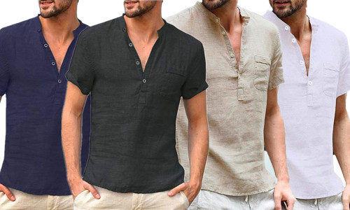 Linen Short Sleeve V-Neck Shirt