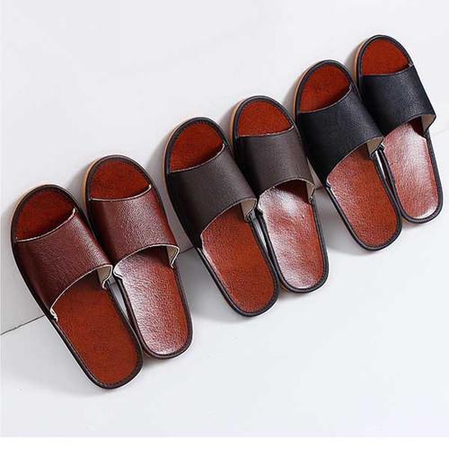Cowhide slippers home summer non-slip and waterproof through-head sandals indoor men and women