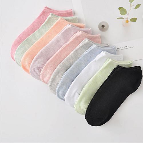 5pcs solid color women's boat socks mixed-la