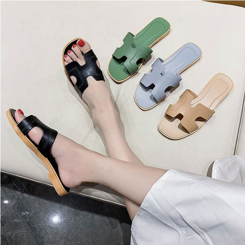 Flat bottom, low-heeled flat-heeled flip flops, female sandals all-match