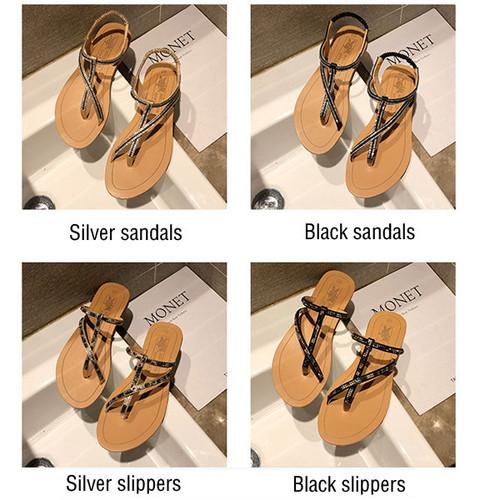 Ladies Sandals Rhinestone Flats Ankle Strap Heel Fashion Open Toe Sandals