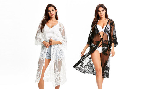 Mesh embroidered beach blouse, holiday beach cardigan-La