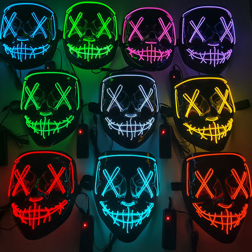 Halloween glowing mask ghost walk cold light-La