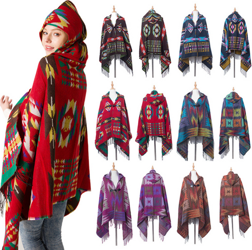 Fringe Hoodies Jacket Striped Cardigans Blankets Cape Shawl Poncho with Tassel