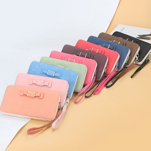 Explosion style snap button bow ladies wallet