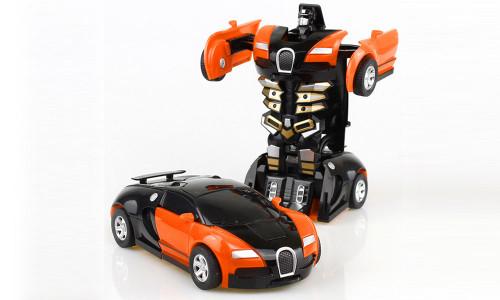 Boy's toy Transformers inertial collision deformation model