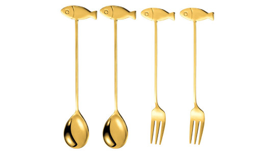 Creative stainless steel 304 Gold fruit dessert fork spoon-laf
