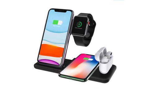 Wireless Charger 4 in 1 Charging Station for iPhone, Apple Watch, AirPods, Android - 15W Qi Fast Charging Pad Dock - Bonus - 9V/3A Powerful Adaptor,