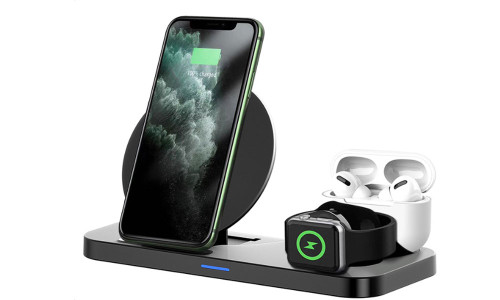 Wireless Charger, 3 in 1 Charging Station for Apple, Wireless Charging Stand Apple Watch Charger for Apple Watch and iPhone Airpod Compatible for iPhone X/XS/XR/Xs Max/8 Plus iWatch Airpods1 2.