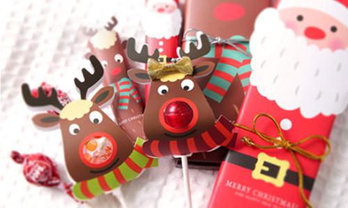 25pcs Lollipop Candy Paper Card Set Cute Christmas Moose Paper Card Seat Labels DIY Candy Lollipop-LA