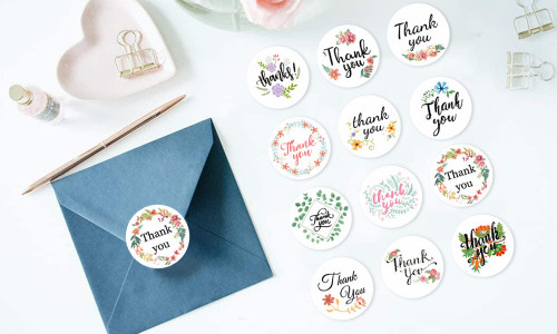 120pcs Thank you stickers in 12 different designs