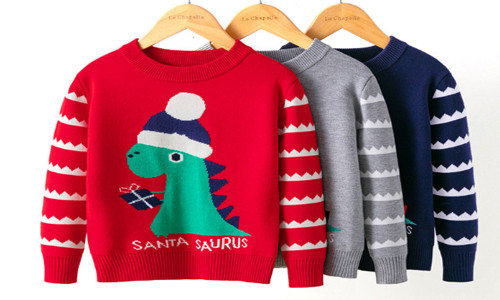 Dinosaur Christmas   Funny Humor Children sweater-la