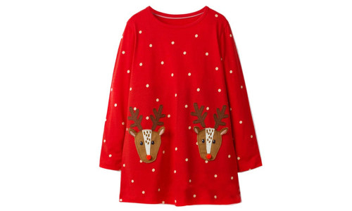 Christmas Polka Dot Elk Children's Dress-la
