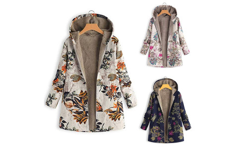 Women warm thick plush coat jacket floral print hooded retro jacket