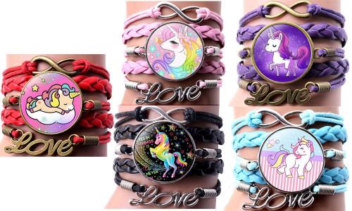Cartoon unicorn gemstone braided bracelet Unicorn bracelet-LA