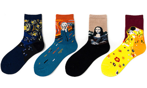 4  Pairs Womens Painting Art Socks Funny Cotton Ladies Socks for Winter-la