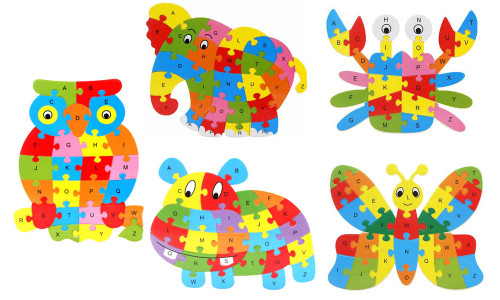 26 Pcs Wooden Blocks Letters ABC Alphabet Animal Puzzle For Kids Pre-School Learning Toy-la