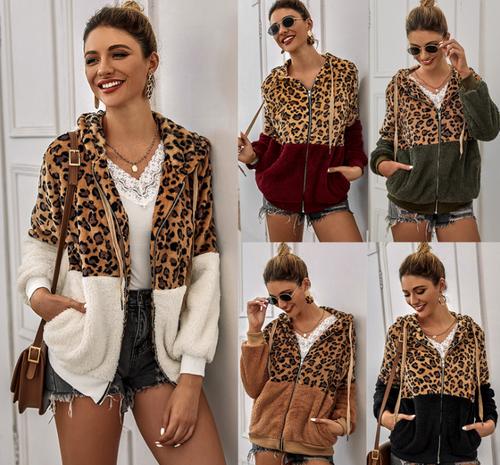 Leopard Split print Faux fur jacket