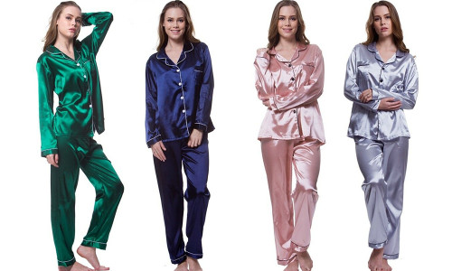 Long Sleeve Satin Pyjamas Set
