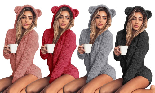 Teddy Bear Fleece Hooded  Shorts Jumpsuits Pajamas