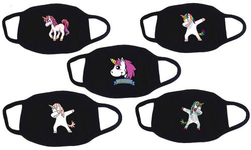 5 PCS Personality Cartoon Unicorn Pattern,Mysterious black Funny stylish Breathable,Washable Cotton-la